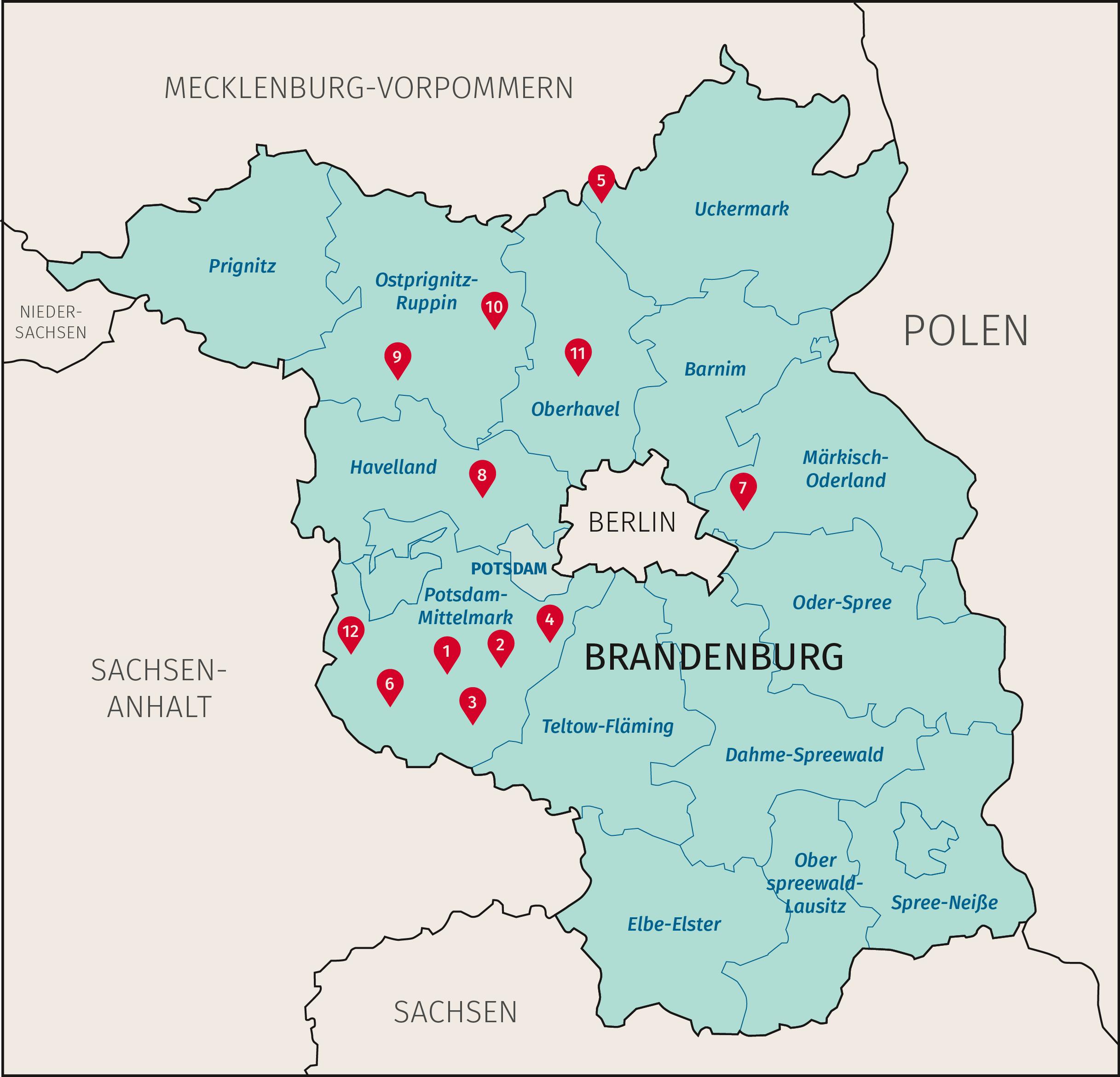 Karte Land Brandenburg