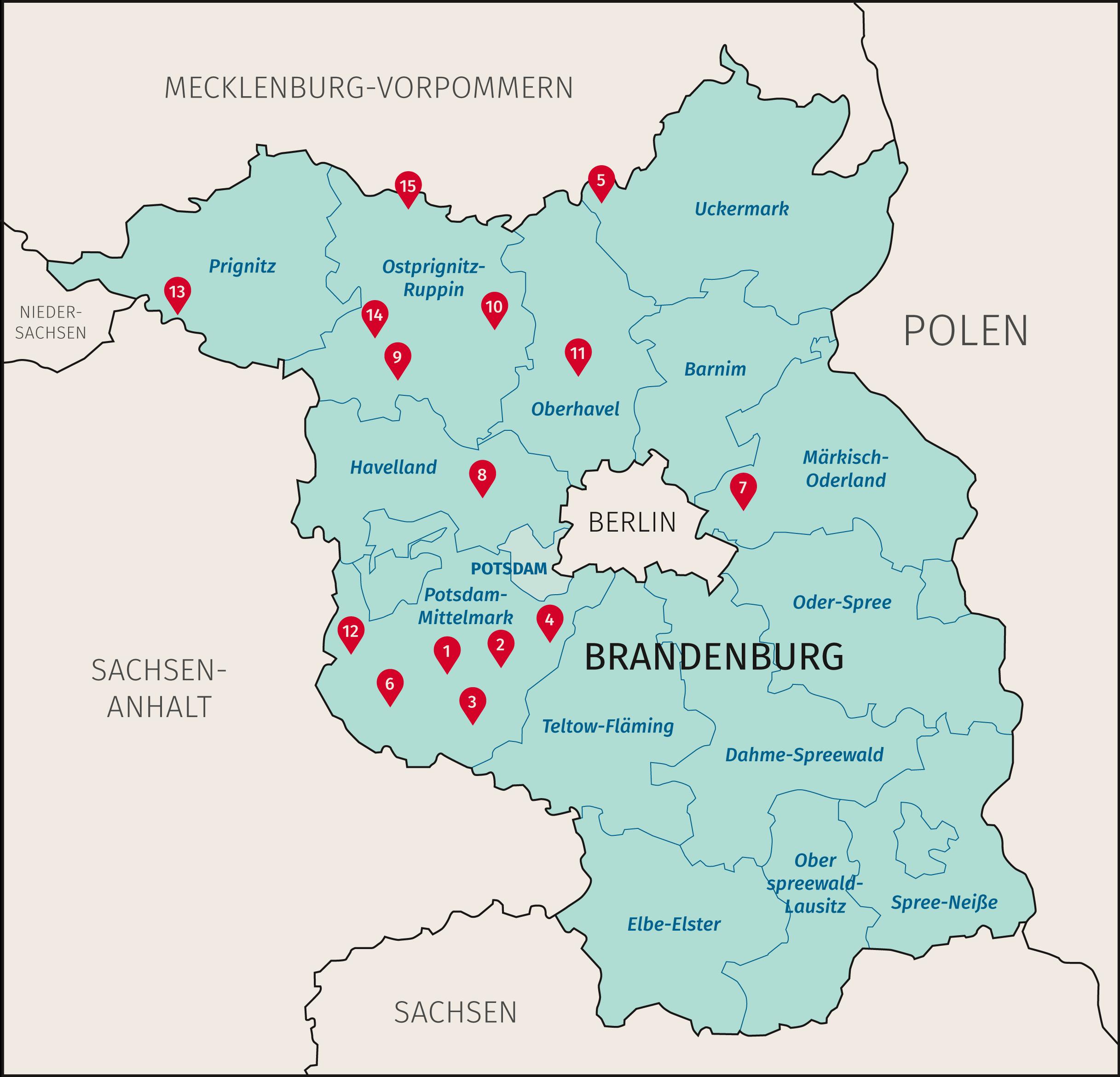 Karte Land Brandenburg mit den Standorten der RaumPioniereZukunft